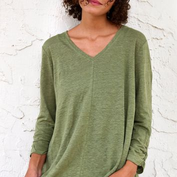 Ruched Sleeve Shirt - Olive by Habitat Clothes to Live in