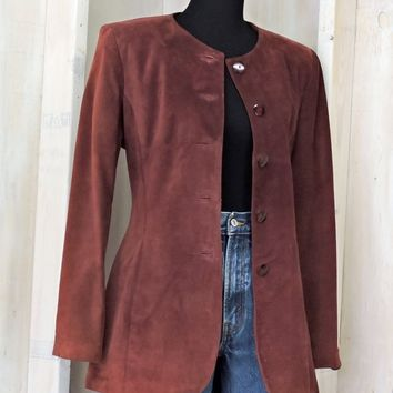 Womens vintage leather jacket / size M / 80s Danier Canada suede jacket / Merlot burgundy leather coat