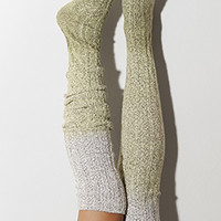 Dried Herb Dip Dye Marled Cable Knit Thigh High Socks