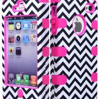 Bastex Hybrid Case for Apple iPhone 4, 4s - Hot Pink Silicone with Hard Black & White Chevron Pattern Shell