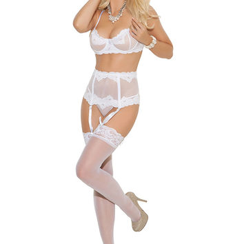 Elegance Mesh Bra Set with Waist Cincher