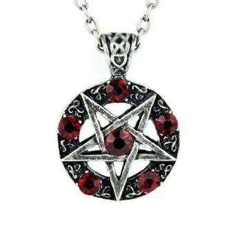 ac spbest Inverted Pentagram Ritual Necklace with Red Stones