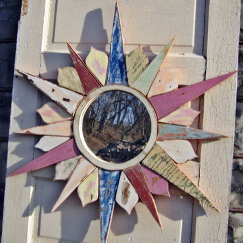 Sunburst Mirror Reclaimed Wood Art, Mosaic  Starburst Circular Mirror
