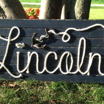 "LINCOLN : 42"" Nautical Rope Name Sign Cottage Lake House Beach House Decor - Distressed Navy Blue"