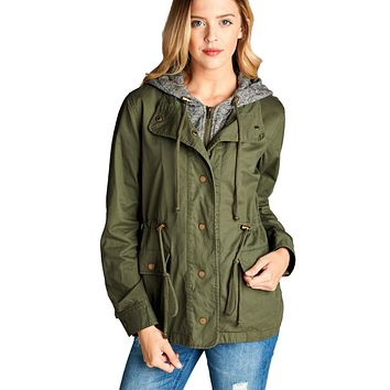 Terry Hood Layered Utility Jacket in Olive