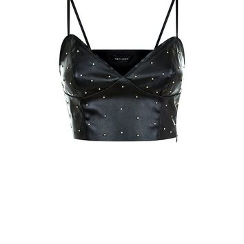 Black Leather Look Stud Bralet | New Look