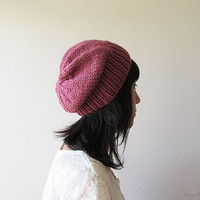 Hand Knitted Chunky Hat in Light Dry Rose - Slouch Seamless Hat - Winter Hat - Wool Blend - Made to Order