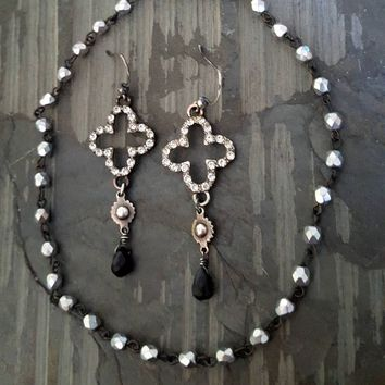 Black Onyx SPARKLY Silver Crystal Clover Oxidized Sterling Silver Rock Chic HOLIDAY Earrings