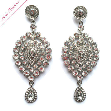 Rhinestone crystal earrings embelishment bridal wedding jewellery earring silver finish bride party prom
