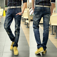 Ripped Design Slim Cut Bleached Denim Jeans