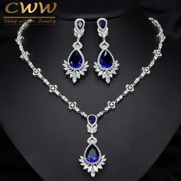 CWWZircons AAA Quality Cubic Zirconia Big Drop Royal Blue Bridal Wedding Evening Earring Necklace Jewelry Set For Women T064