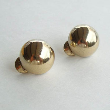 Monet Goldtone Dome Button Earrings Vintage Jewelry