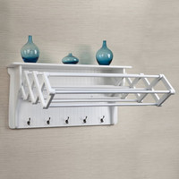 Accordion Drying Rack With Five Large Coat Hooks Bathroom Furniture White Finish