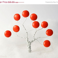 20% SALE Black Friday Bright Orange Beads 14mm (10) Czech Opaque Glass Pressed Flat Round