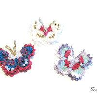 Crochet Butterfly Appliques, Colorful Butterfly Appliques, Butterfly Brooch, Applicazioni Farfalla (Cod. 5)