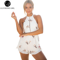 Lily Rosie Girl Women 2017 Hollow Out Floral Boho Beach Romper Black Sexy Print Summer Party Off Shoulder Playsuit Overalls