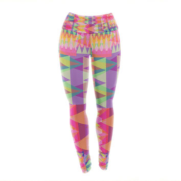 "Miranda Mol ""Triangle Fun"" Pink Multicolor Yoga Leggings"
