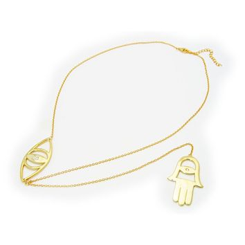 "Evil Eye and Hamsa Charm lariat Necklace in 18k Gold Plated Sterling, 18""+ 7"" Extender"