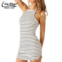 New summer dresses  casual women Clothing Sexy and backless stripe dress