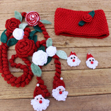Christmas Jewelry Set Santa Face Earings Spiral Neckalace Red Knit Headband Red Neckace Scarf EXPRESS SHIPPING Buy 2 Get 1 FREE
