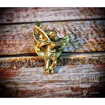 1980s Vintage Gold Toned Golfing Lapel Pin | Golfer | Good Luck Guardian Angel Brooch | Golf Tie Tac