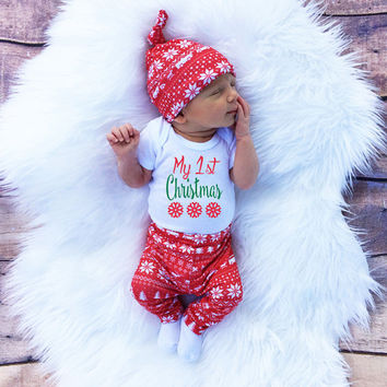 3pcs cute newborn baby boys girls first christmas clothes printe