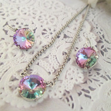 Swarovski crystal necklace and earring set. 14mm , purple, multi colors, designer inspired, single stone