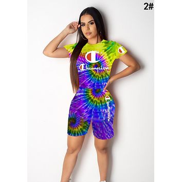 Champion Summer Newest Woman Casual Tie-Dye Print Short Sleeve Top Shorts Two Piece Set Sportswear 2#