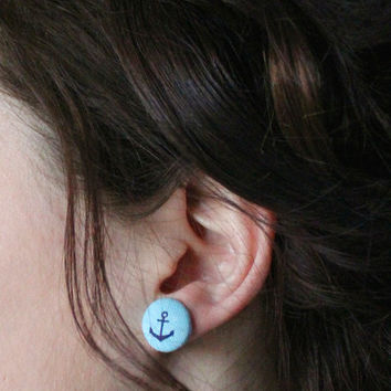 Anchor Fabric Earrings : Light Blue and Navy Fabric Covered Button Earrings, Cute, Fun, Simple, Unique, Casual, ArtisanTree