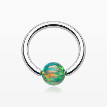 Iridescent Fire Opal Steel Captive Bead Ring