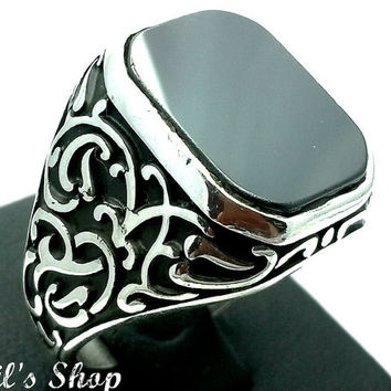 Turkish Men Jewelry, With Black Onyx Stone, Silver Ring For Him, Engraved Silver Ring, Cheap Silver Ring, Gift For Him, US Size 11