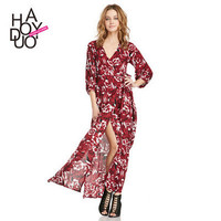 2016 Trending Fashion Chiffon Floral Printed Strappy Button Split Japanese dress One Piece Dress _ 3414
