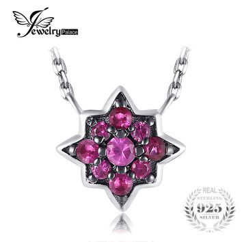 JewelryPalace Vintage 0.2ct Created Red Ruby Flowers Necklace With Chain Solid 925 Sterling Silver Fashion Gemstone Fine Jewelry