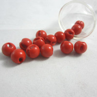 "Set of 14 Small Orange Ball Buttons , Round Orange Buttons , Orange Globe Buttons 1 cm or 3/4"" Round Orange Button Beads"