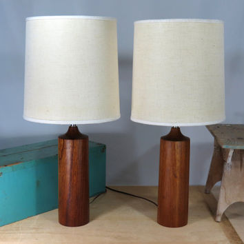 Danish Modern Teak Cylindrical Table Lamp . 1960s Mid Century Mo