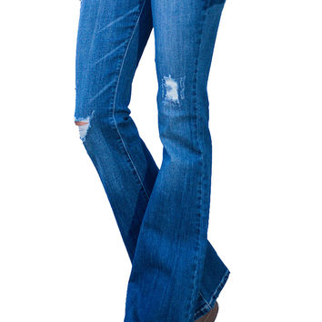 All The Right Moves Distressed Flare Jeans