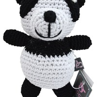 Dog Teeth Cleaning Cotton Crochet Squeaky Dog Toy for Small Dog - Panda