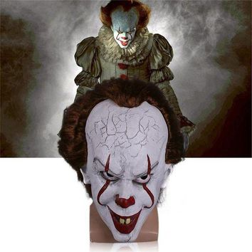 CREY6F Takerlama 2017 Movie Stephen King's It Pennywise Clown Joker Mask Tim Curry Horrible Mask Cosplay Halloween Party Props Mask
