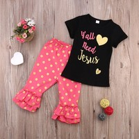 Hot Casual Baby Girls Floral T-shirt Pants 2pcs Set Outfits Toddler Clothes 1-6Y