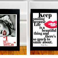 Marilyn Monroe Quote - At My Best - 8 x 10 Print in black and hot red