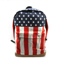 Women Men Unsex Canvas USA American Flag BackPack Shoulder Handbag Sport School