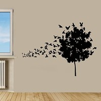 Wall Decor Vinyl Decal Sticker Birds and a Tree Floral Design Kg353