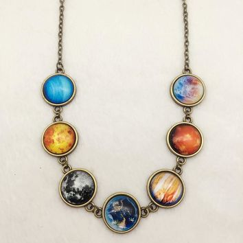 Solar system, planet , universe , galaxy necklace