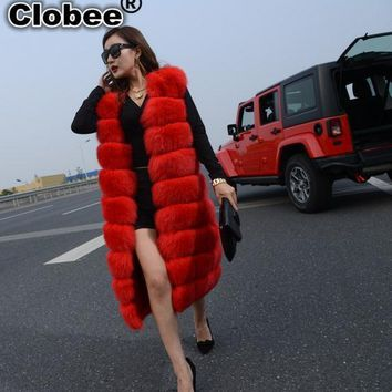 Faux Fox Mink Fur Vest Women 2018 Winter Waistcoat Slims Super Long Fake Fur Vest Furry Vest Female Abrigos Mujer Red Color Y812
