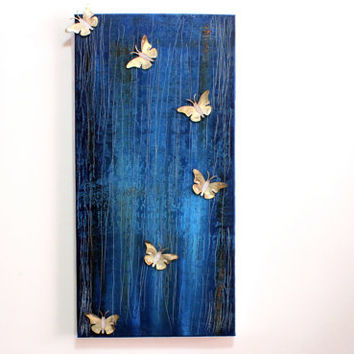 "3d butterfly wall art, Canvas Art Oil Painting Art Modern Art Abstract Art Impasto, 11""x23"", Texture Palette Knife Art Canvas Painting"