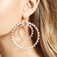Faux Pearl Drop Hoop Earrings