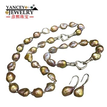 YANCEY 2018 New natural Baroque shaped bright light freshwater pearls, necklaces, bracelets, earrings Jewelry Sets