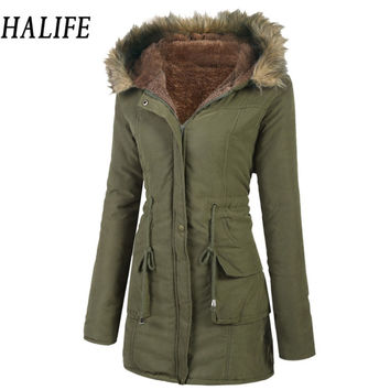 HALIFE Women Winter Jackets And Coats Long Sleeve Warm Winter Jacket Drawstring Waist Fleece Lined Parka Coat Doudoune Femme 105