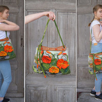 Unique felted bag with 3D nasturtium  flowers with wooden handcrafted handles, designer's purse, nuno felted on silk fabric. OOAK