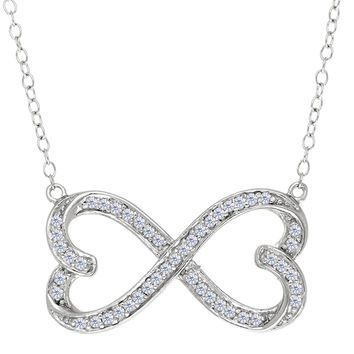Double Heart Infinity Sign With Cz Necklace In Rhodium Plated Sterling Silver - 18 Inches